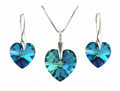 Set cristale Swarovski inima Bermuda Blue si argint