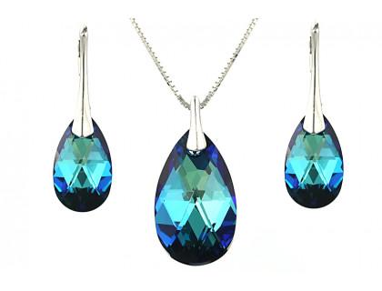 Set cristale Swarovski lacrima Bermuda Blue si argint
