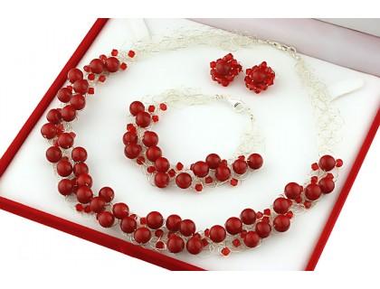 Set crosetat din perle de Mallorca rosii, cristale Swarovski si argint