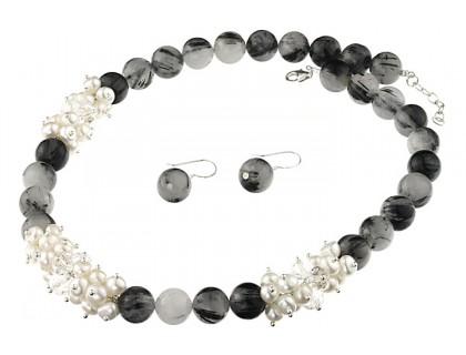 Set cuart rutilat, perle, cristale si argint