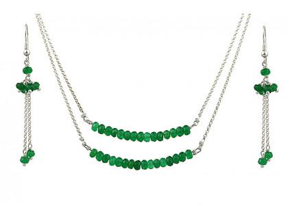 Set delicat din jad verde si argint