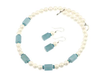 Set din perle de Mallorca albe si acvamarin