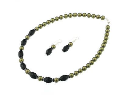Set din perle de Mallorca oliv si onix