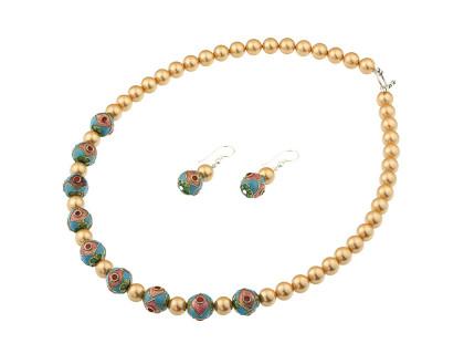 Set din perle de Mallorca si Cloisonne
