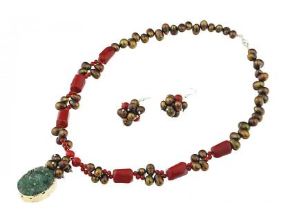 Set din perle naturale, coral rosu si agat druzy