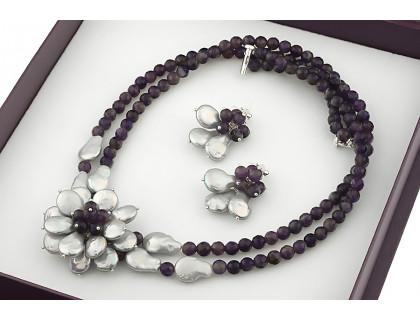 Set exclusivist cu flori din perle naturale Biwa si ametist