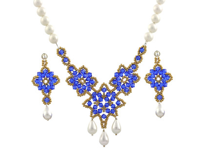 Set exclusivist din perle de Mallorca si cristale Swarovski
