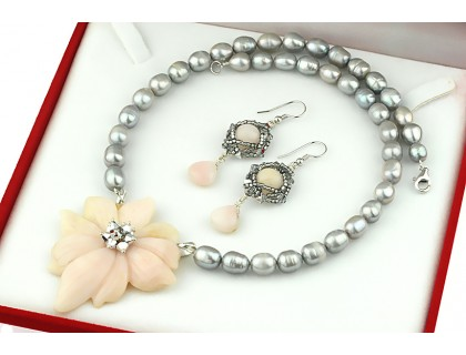 Set exclusivist opal de Peru, perle si cristale Swarovski