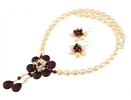 Set floare jad rosu si perle de cultura
