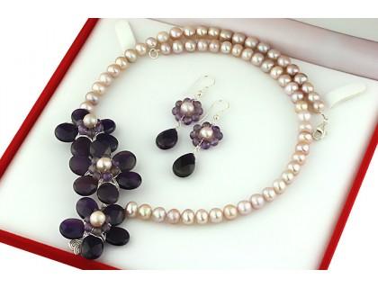 Set flori ametist si perle de cultura lila