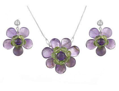 Set flori din ametist, peridot si argint