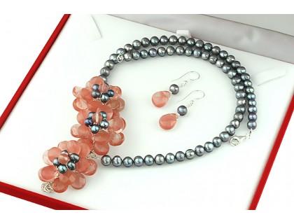 Set flori din cuart cherry si perle de cultura
