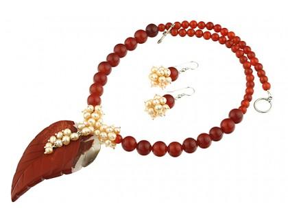 Set frunza jasp, agat rosu si perle de cultura