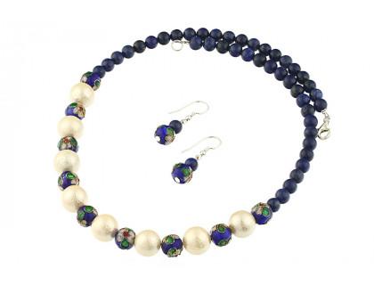 Set lapis lazuli, Cloisonne si perle de Mallorca