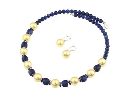 Set lapis lazuli, perle de Mallorca si rhinestone