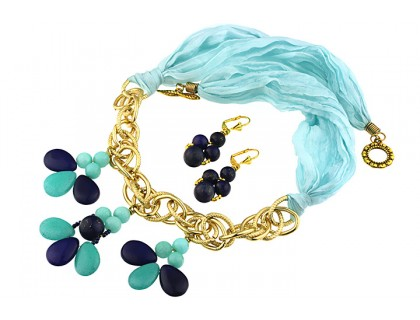 Set matase naturala, jad si lapis lazuli