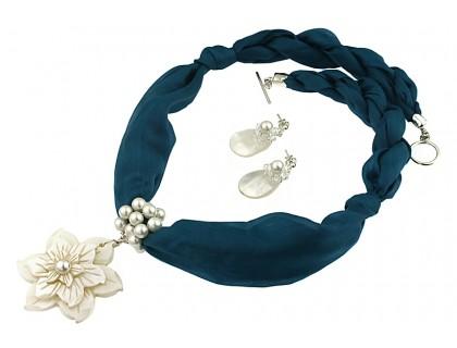 Set floare sidef, perle, cristale Swarovski si matase