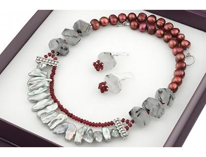 Set impunator din perle naturale Biwa, perle naturale baroc si cuart rutilat
