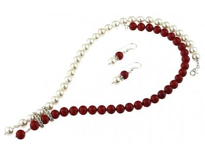 Set perle de Mallorca alb-rosu