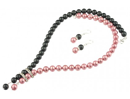 Set perle de Mallorca roz-negru