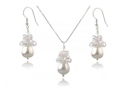 Set perle Mallorca lacrima, Swarovski Clear si argint
