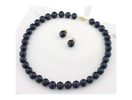 Set perle naturale negre 10 - 11 mm AA+ si aur 14K