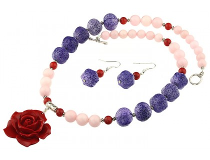 Set trandafir coral rosu, coral mov si jad roz