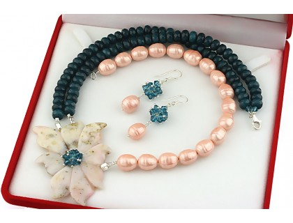 Set unicat opal de Peru, perle Mallorca, jad si Swarovski