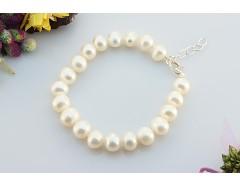 Bratara perle de cultura albe 8 - 9 mm AA si argint