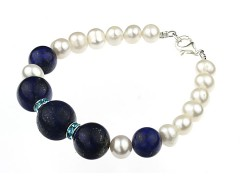 Bratara perle de cultura albe si lapis lazuli