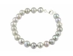 Bratara perle de cultura gri 8-9 mm si argint