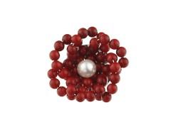 Brosa din coral rosu si perla de cultura