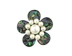 Brosa floare din sidef Paua si perle de Mallorca