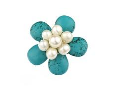 Brosa floare turcoaz si perle de cultura