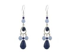 Cercei candelabru din jad bleumarin si coral bleu