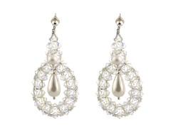 Cercei cristale Swarovski Crystal AB si perle Mallorca