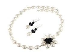 Set asimetric perle de cultura baroc si onix