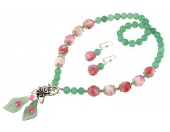 Set cale aventurin verde si jad curcubeu roz