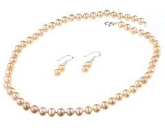 Set clasic din perle de cultura crem 7 - 8 mm A