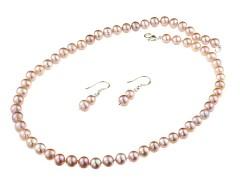 Set clasic din perle de cultura lila 7 - 8 mm A