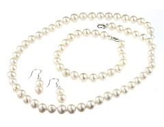 Set clasic perle de cultura albe 8 - 9 mm AA