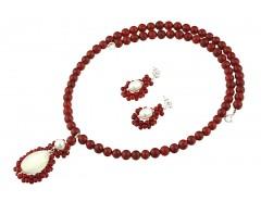 Set coral rosu si perle de cultura