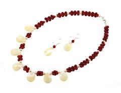 Set coral rosu, sidef alb si perle de cultura