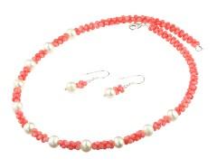 Set coral roz, perle de cultura si argint