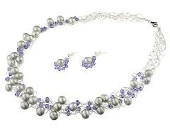 Set crosetat din perle, cristale Swarovski Tanzanite si argint
