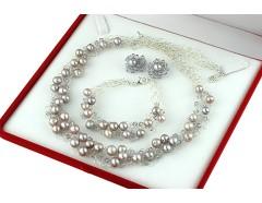 Set crosetat din perle de cultura lila, cristale Swarovski si argint
