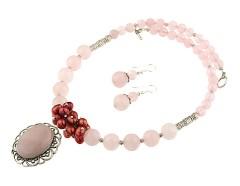 Set cuart roz si perle de cultura grena