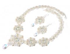 Set exclusivist din perle naturale si cristale Swarovski - Angelina