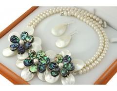 Set exclusivist flori sidef alb-paua si perle de cultura