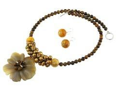 Set floare agat, perle de cultura si ochi de tigru